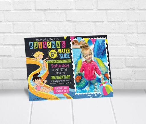Girls Waterslide Party Invitation with Photo