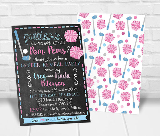 Putters or Pom Poms Gender Reveal Party Invitation - The Party Stork