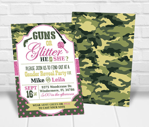 Guns or Glitter Gender Reveal Party Invitation - The Party Stork