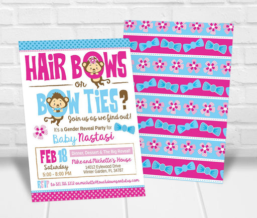 Hairbows or Bowties Monkey Gender Reveal Party Invitation - The Party Stork