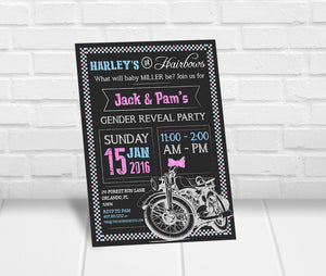 Harleys or Hairbows Gender Reveal Party Invitation