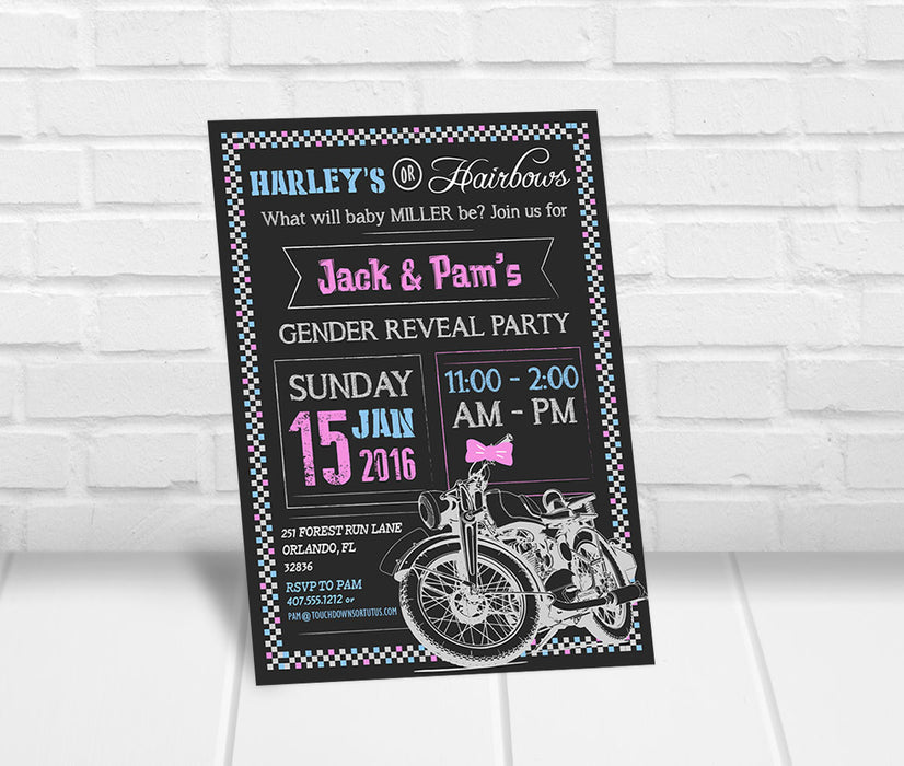 Harleys or Hairbows Gender Reveal Party Invitation - The Party Stork