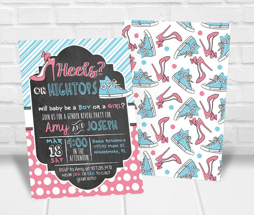 Heels or Hightops Gender Reveal Party Invitation - The Party Stork