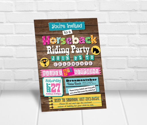 Girls Horseback Riding Birthday Party Invitation - The Party Stork