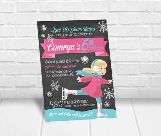 Ice Skating Birthday Party Invitation Girls - The Party Stork