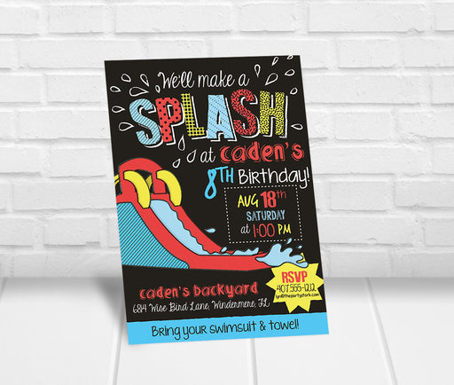 Inflatable Slide Birthday Party Invitation - The Party Stork