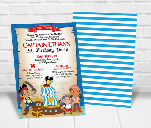 Jake and the Neverland Pirates Birthday Party Invitation - The Party Stork