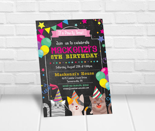 Kitten Birthday Party Invitation
