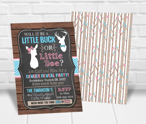Little Buck or Doe Gender Reveal Party Invitation - The Party Stork