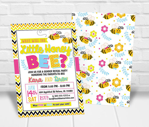 Little Honey Bee Gender Reveal Party Invitation - The Party Stork