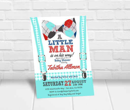 Little Man Baby Shower Invitation - Bowtie - The Party Stork