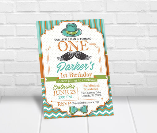 Little Man First Birthday Invitation - The Party Stork