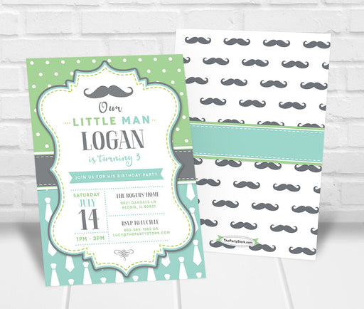 Little Man Mustache Birthday Party Invitation - The Party Stork