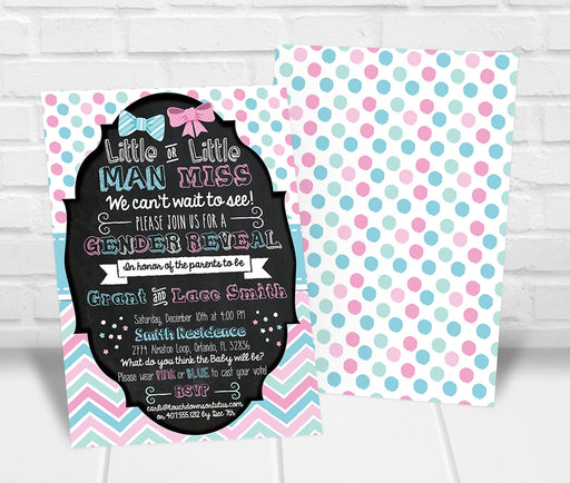 Little Man or Little Miss Gender Reveal Party Invitation - The Party Stork