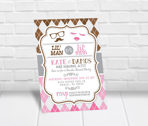 Little Man or Little Miss Gender Reveal Party Invite - The Party Stork