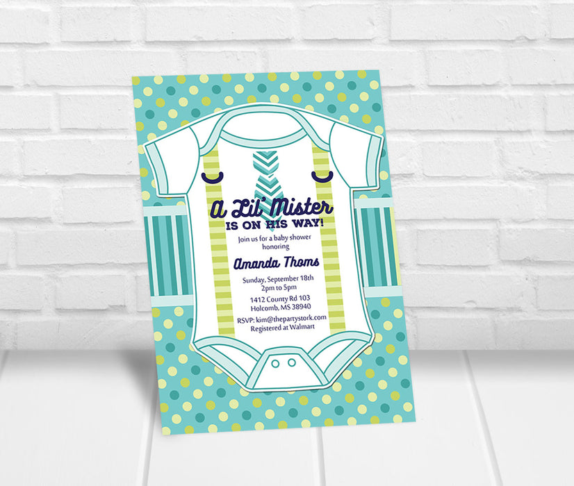 Little Mister Baby Shower Invitation - The Party Stork