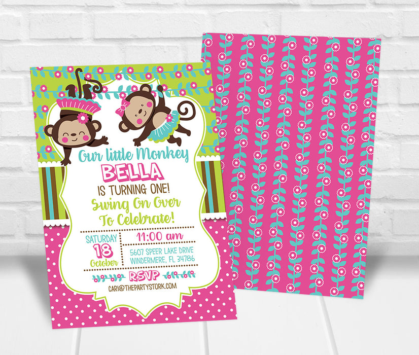 Little Monkey First Birthday Party Invitation Girls - The Party Stork