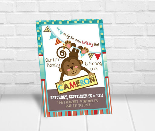 Little Monkey First Birthday Party Invitation - The Party Stork