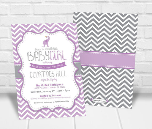 Little Peanut Baby Shower Invitation Purple - The Party Stork