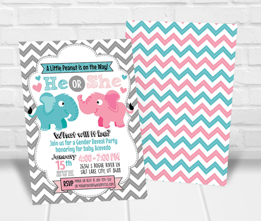 Little Peanut Gender Reveal Party Invitation