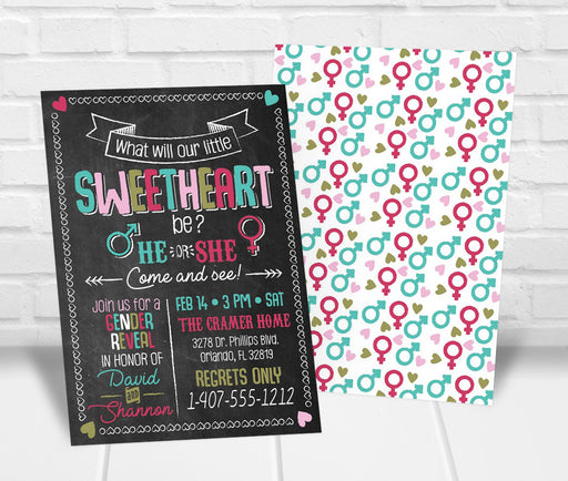 Little Sweetheart Valentines Gender Reveal Party Invitation - The Party Stork