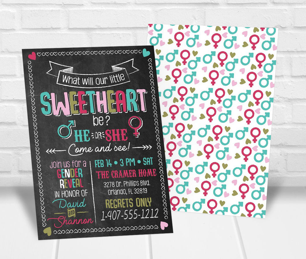 Little Sweetheart Valentines Gender Reveal Party Invitation
