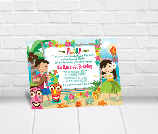 Luau Birthday Invitation Kids - The Party Stork