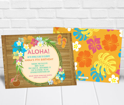 Luau Birthday Party Invitation - The Party Stork