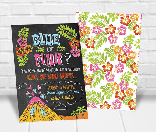 Luau Gender Reveal Party Invitation