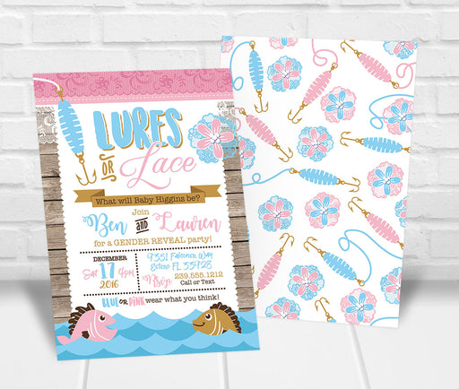 Lures or Lace Gender Reveal Party Invitation - The Party Stork
