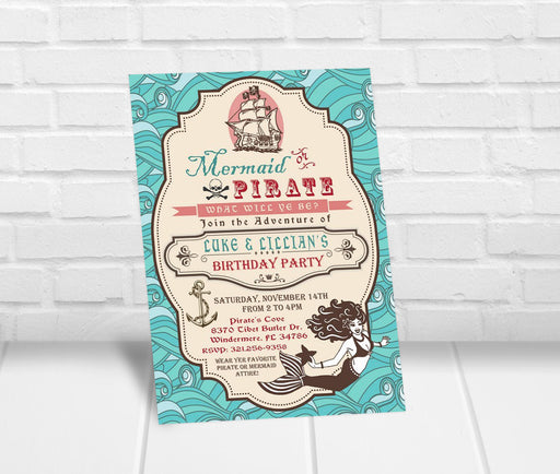 Mermaid and Pirate Birthday Party Invitation - The Party Stork