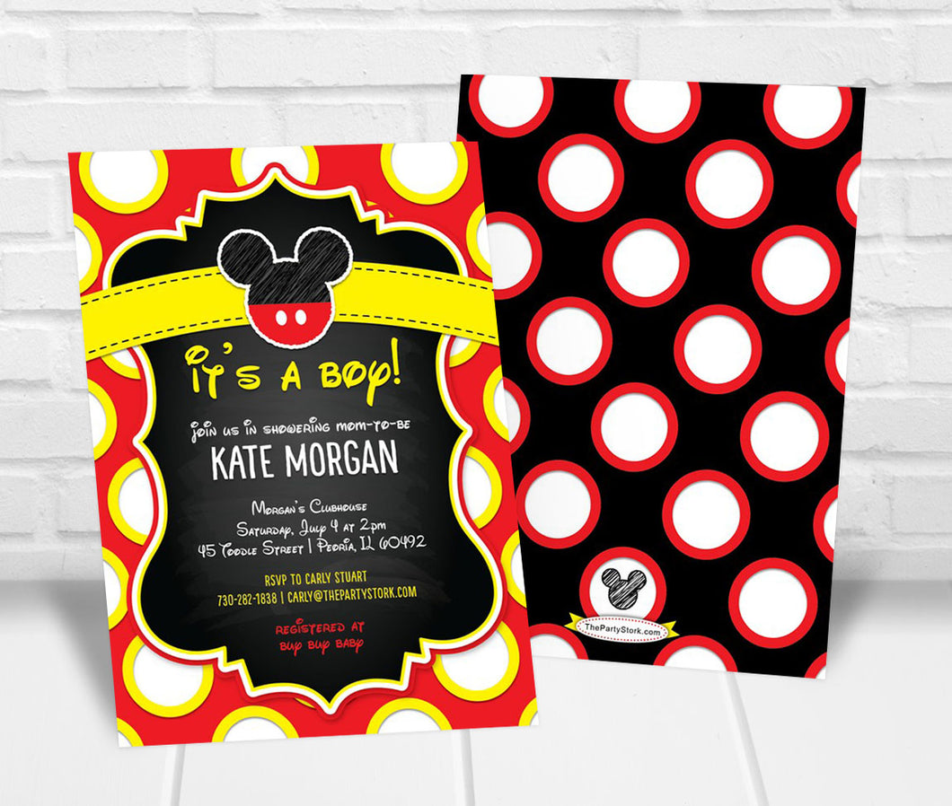 Mickey Inspired Baby Shower Invitation