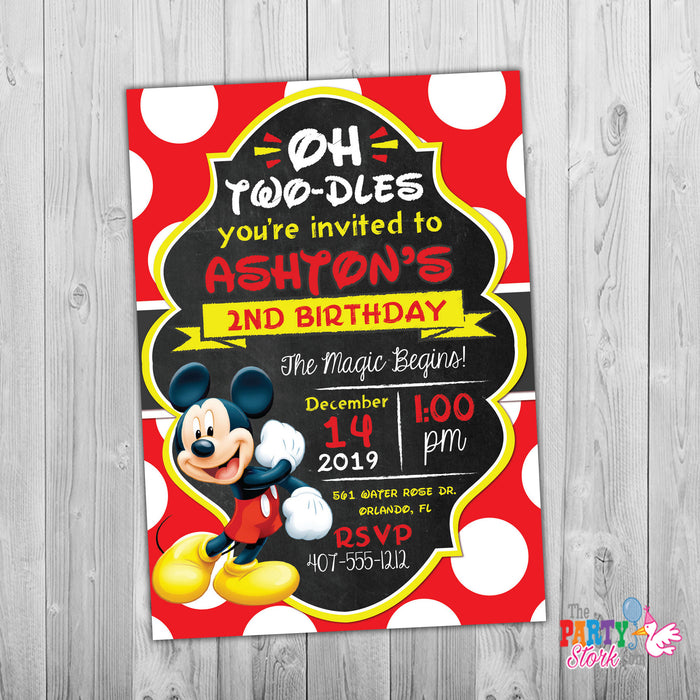Mickey Mouse Birthday Party Invitation - The Party Stork