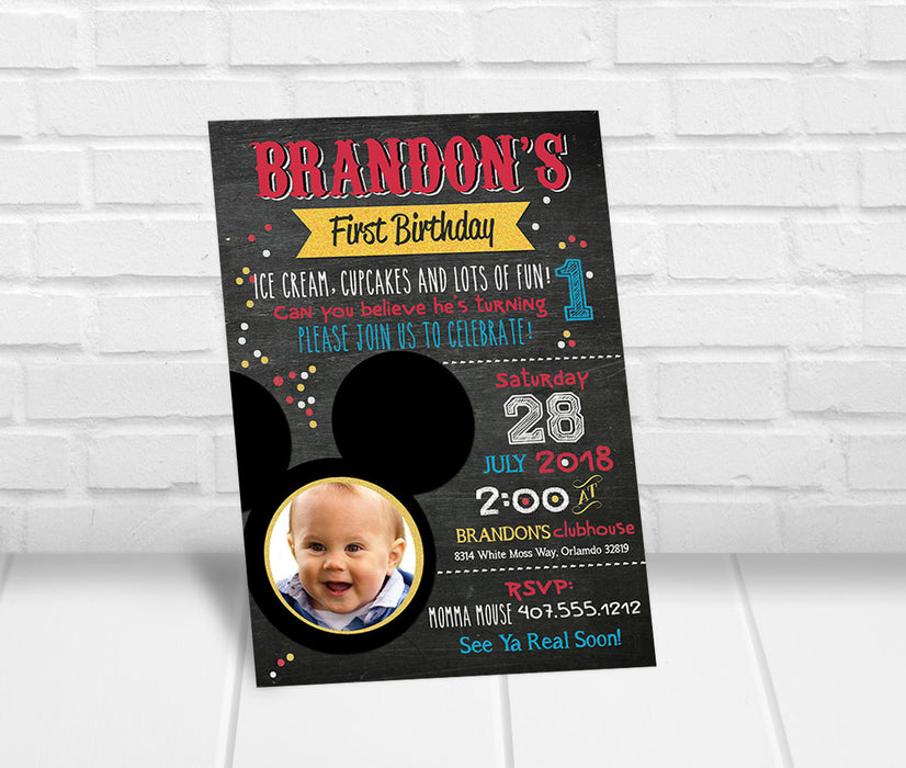 Mickey Inspired 1st Birthday Party Invitation with Photo - The Party Stork