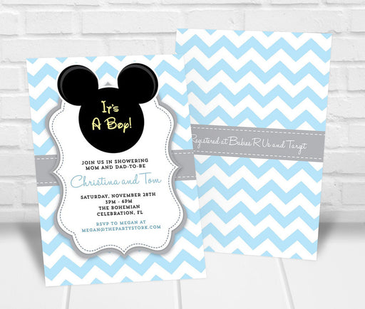 Mickey Inspired Baby Shower Invitation - The Party Stork