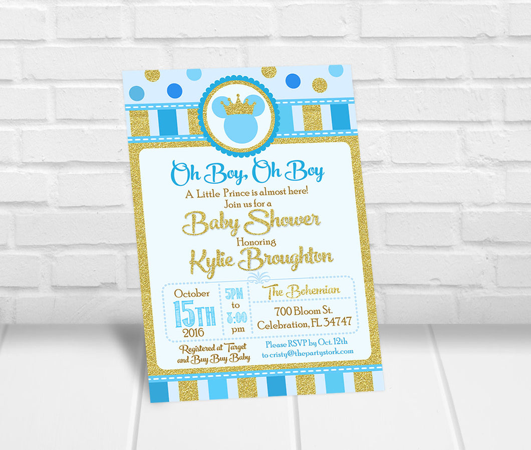 Mickey Inspired Prince Baby Shower Invitation
