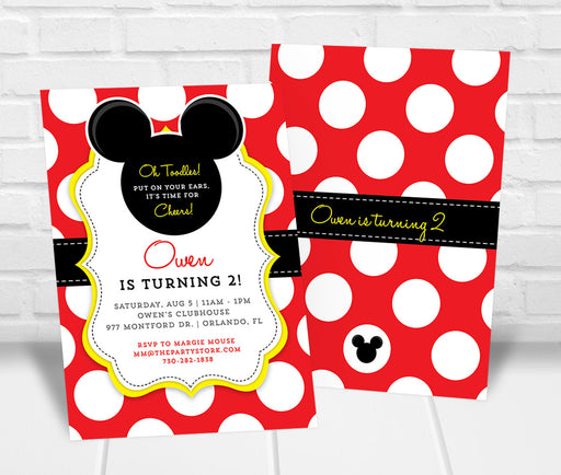 Mickey Inspired Birthday Party Invitation - The Party Stork