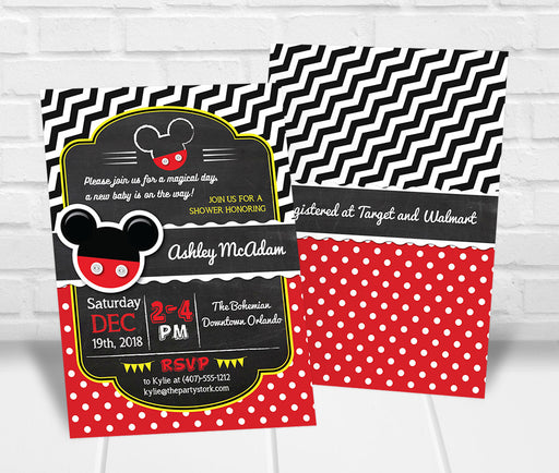 Mickey Mouse Inspired Baby Shower Invitation - The Party Stork