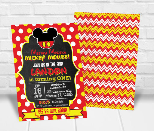 Mickey Mouse Inspired Birthday Party Invitation - The Party Stork
