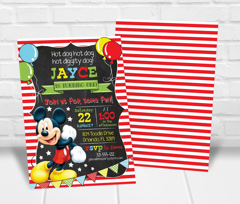 Mickey Mouse Party Invitation - The Party Stork