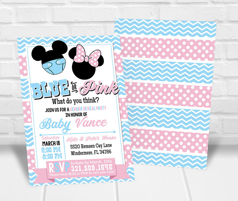 Mickey or Minnie Gender Reveal Party Invitation - The Party Stork