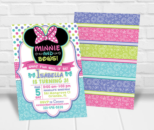 Minnie Bowtique Inspired Birthday Invitation - The Party Stork