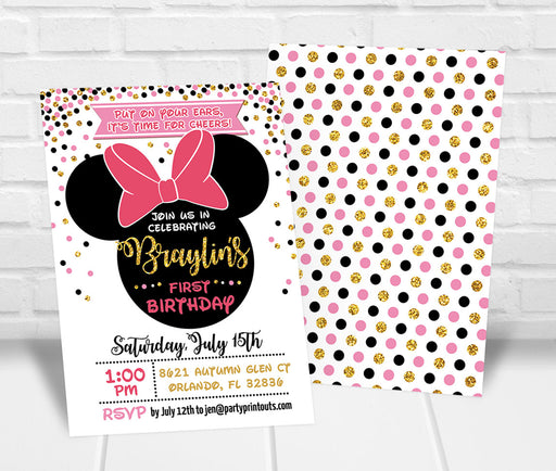 Minnie Inspired 1st Birthday Invitation Pink and Gold - Any Age - The Party Stork