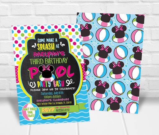 Minnie Inspired Pool Party Invitation
