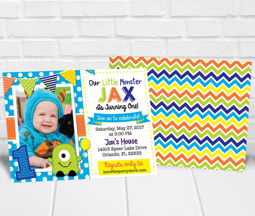 Monster 1st Birthday Party Invitation - The Party Stork