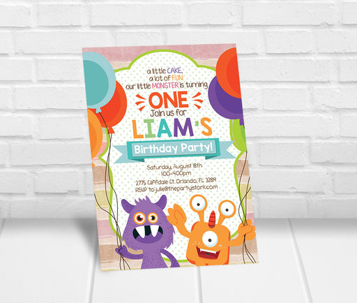Monster First Birthday Party Invitation