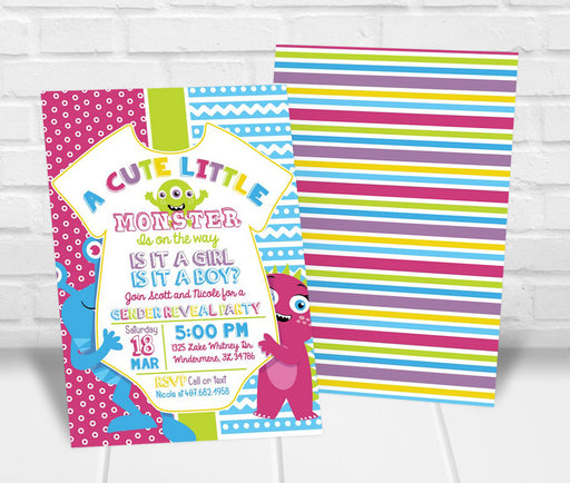 Monster Gender Reveal Party Invitation - The Party Stork