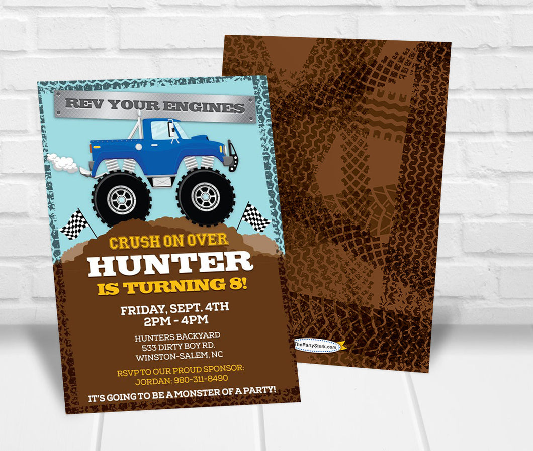 Monster Truck Birthday Party Invitation