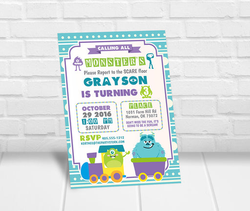 Monsters Inc Inspired Birthday Party Invitation - The Party Stork