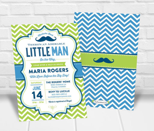 Mustache Bash Baby Shower Invitation - The Party Stork